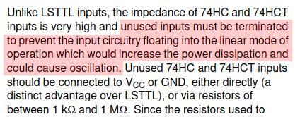 74HC user guide mandates unused input termination
